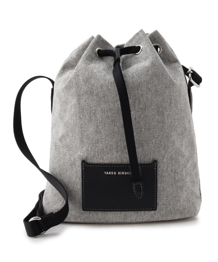 TAKEO KIKUCHI(タケオキクチ) シャンブレーキャンバス レザーコンビ 巾着 ショルダーバッグ