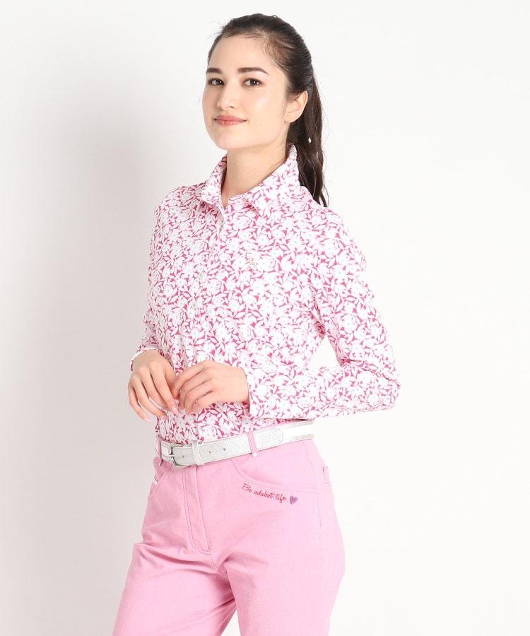 adabat(Ladies)(アダバット(レディース)) 【遮熱効果/吸水速乾/UVカット】フラワーデザイン 長袖ポロシャツ