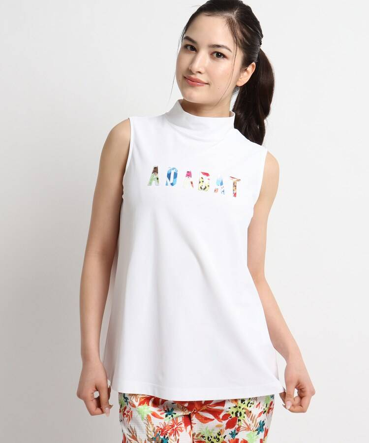 adabat(Ladies)(アダバット(レディース)) 【UVカット/防透け】ロゴモチーフノースリブプルオーバー