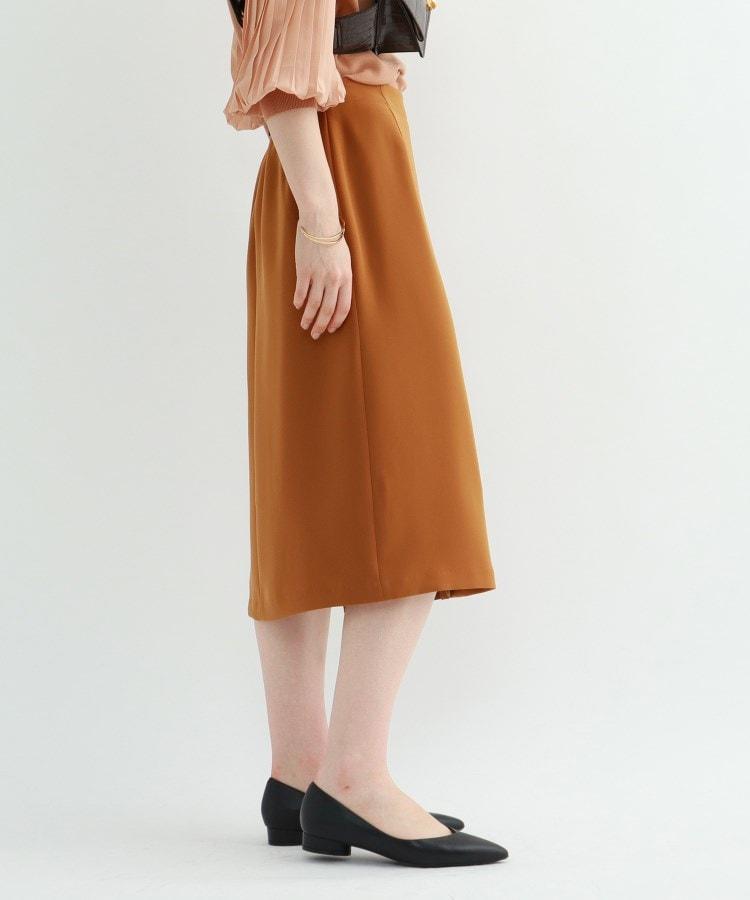 INDIVI(インディヴィ) [L]【マシンウォッシュ】サテンクロス フロントボタンスカート