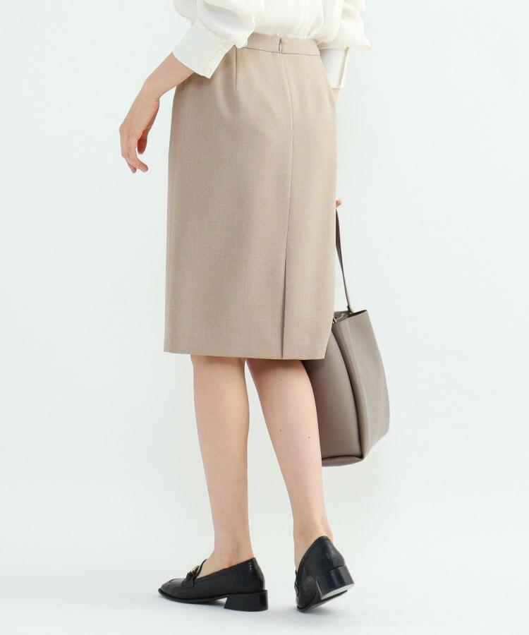 INDIVI(インディヴィ) [L]【マシンウォッシュ/UV/吸水速乾】ツムギートツイルバックスリットタイトスカート