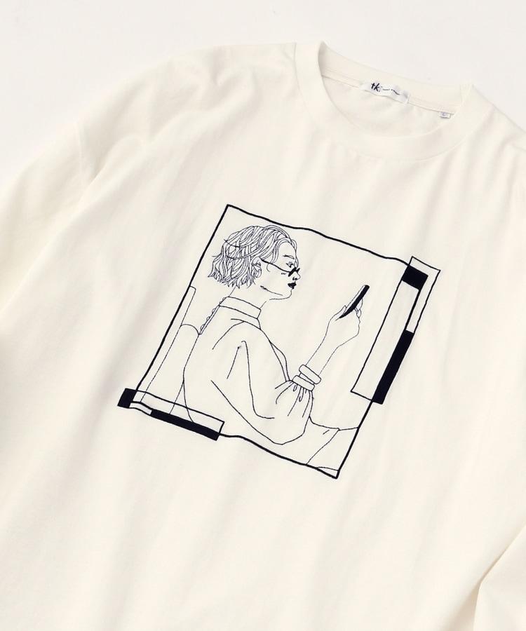 ティーケー タケオ キクチ(tk.TAKEO KIKUCHI)のLINE ART GIRLロンT(ユニセックスアイテム) ホワイト(001)