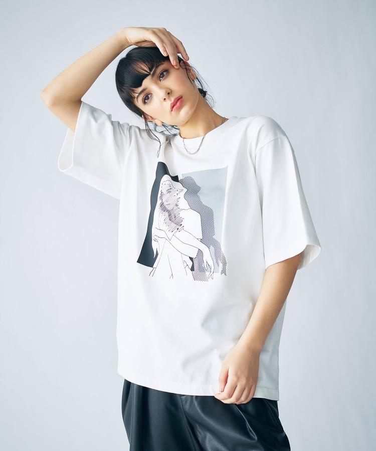 tk.TAKEO KIKUCHI(ティーケー タケオ キクチ) ダマシエポートレートTシャツ(ユニセックスアイテム)