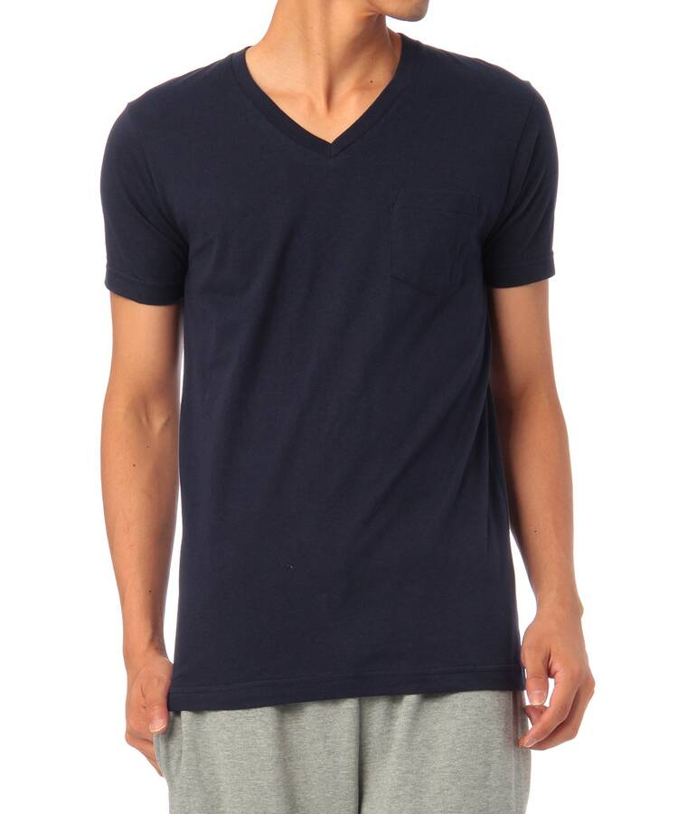 ベースコントロール(BASE CONTROL)のinner light v neck pocket tee ネイビー系(094)