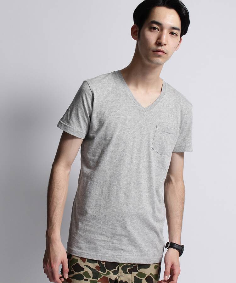 ベースコントロール(BASE CONTROL)のinner light v neck pocket tee グレー(912)