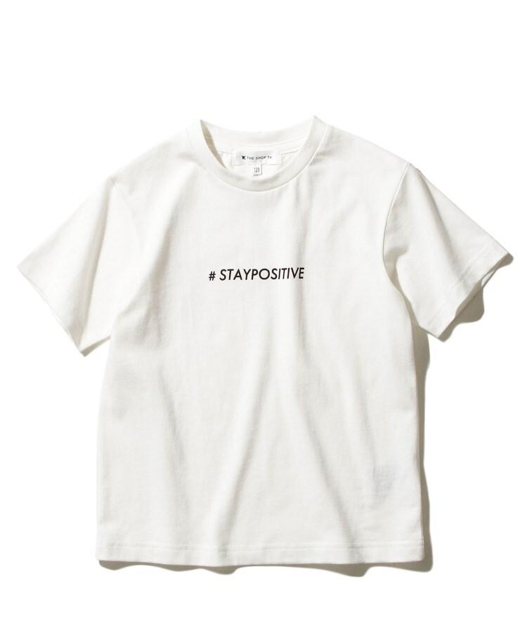 THE SHOP TK(Kids)(ザ ショップ ティーケー(キッズ)) 【120-150cmまで】【日本財団チャリティー】#staypositiveリサイクルコットン(混)ロゴTシャツ