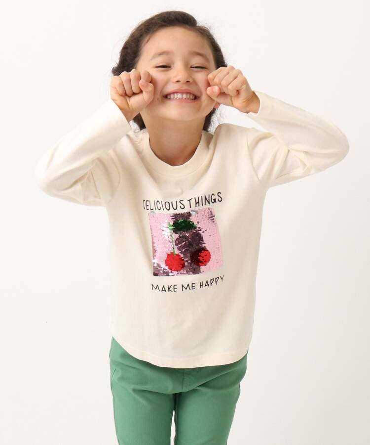 THE SHOP TK(Kids)(ザ ショップ ティーケー(キッズ)) ガールズリバーシバルスパンコールロングTシャツ/サクランボ&パフェ/ネコ&フラワー