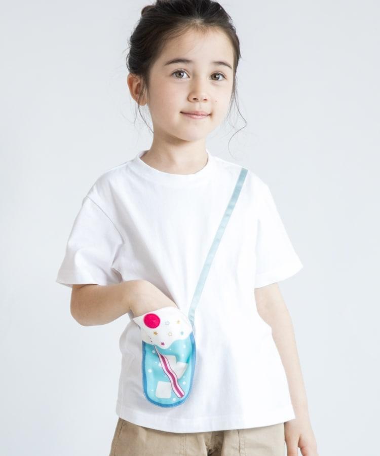 THE SHOP TK(Kids)(ザ ショップ ティーケー(キッズ)) ポシェットギミックTシャツ クリームソーダ—/サイダーデザイン