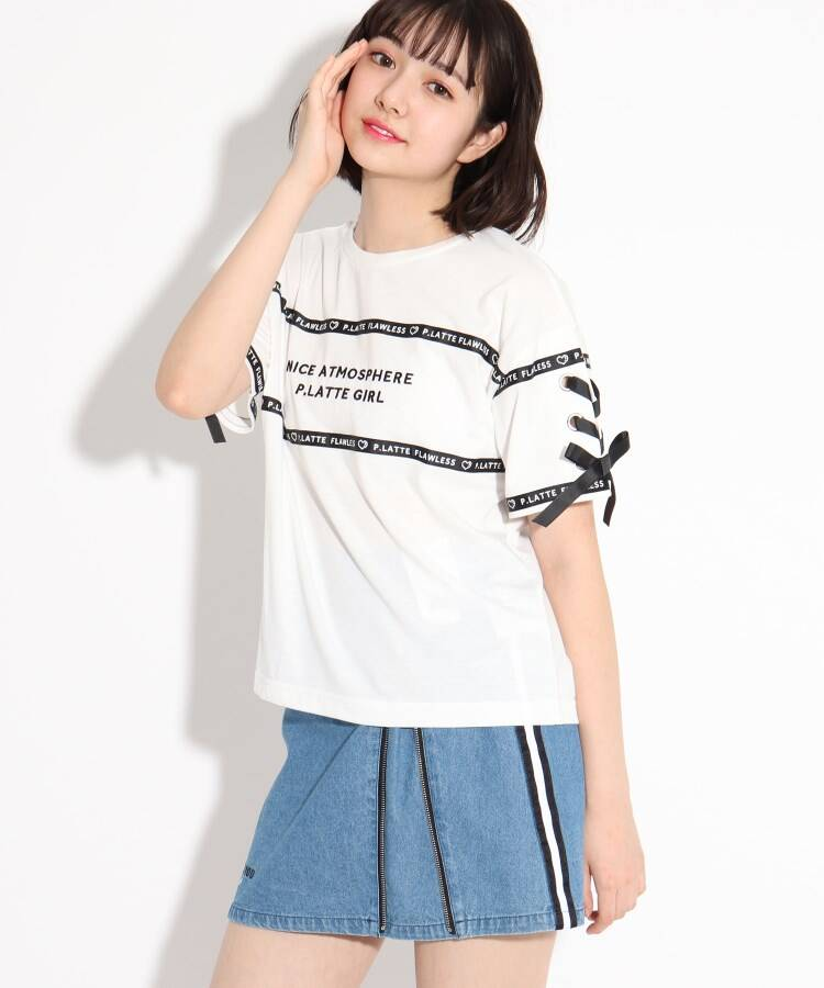 PINK-latte(ピンク ラテ) ロゴテープ×袖レースアップTシャツ