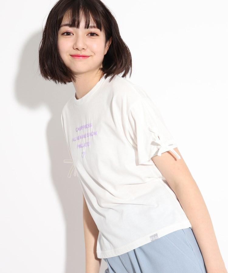PINK-latte(ピンク ラテ) 袖レースアップシンプルロゴTシャツ