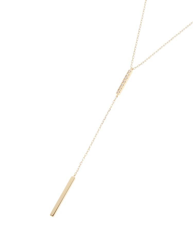 COCOSHNIK(ココシュニック) K18ダイヤモンド レクタングルY字 ネックレス