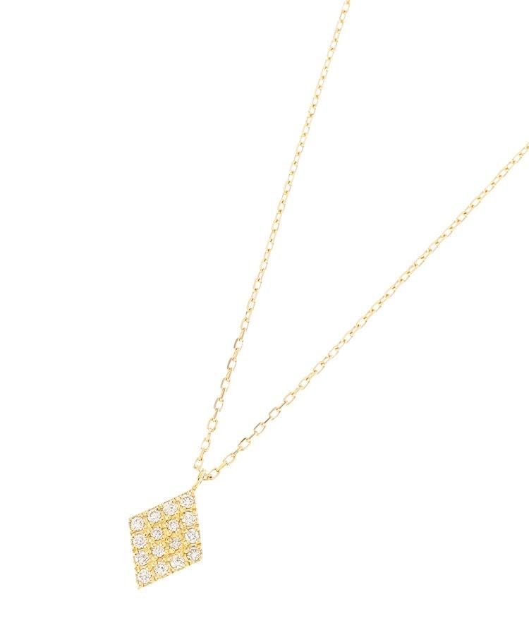 COCOSHNIK(ココシュニック) K18ダイヤモンド パヴェひし形 ネックレス大