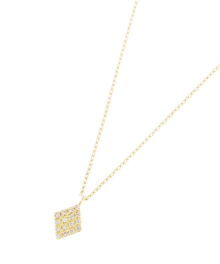COCOSHNIK(ココシュニック) K18ダイヤモンド パヴェひし形 ネックレス小