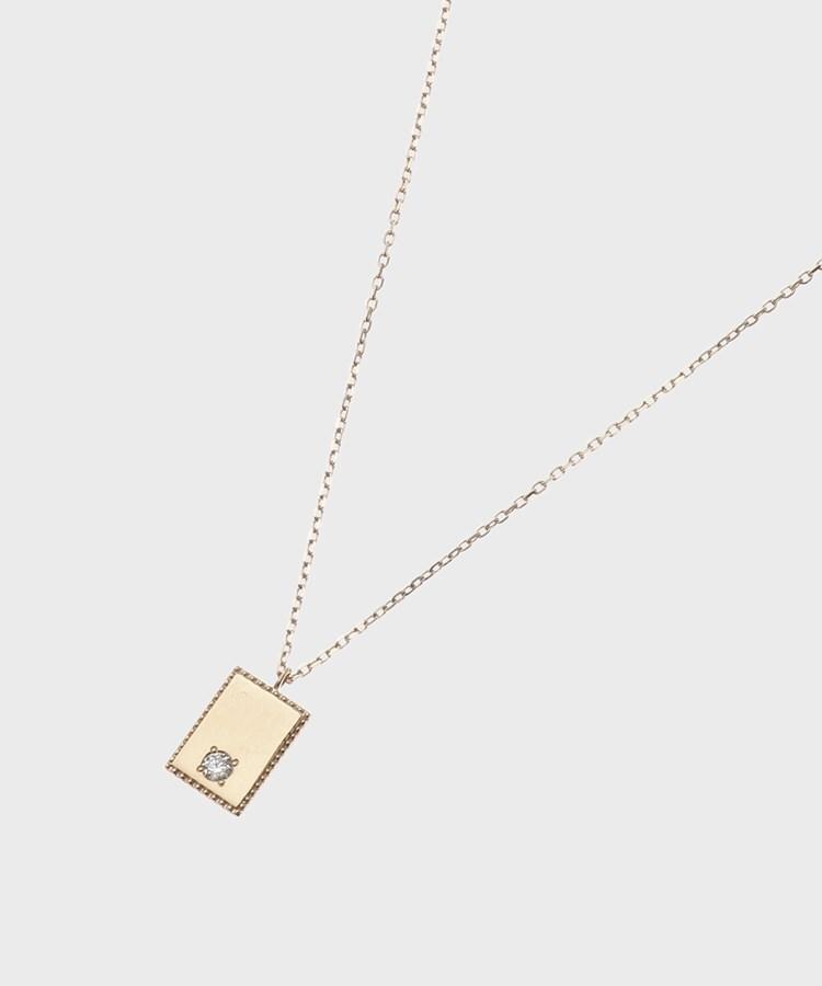 COCOSHNIK(ココシュニック) ダイヤモンド フチミルスクエアプレート ネックレス