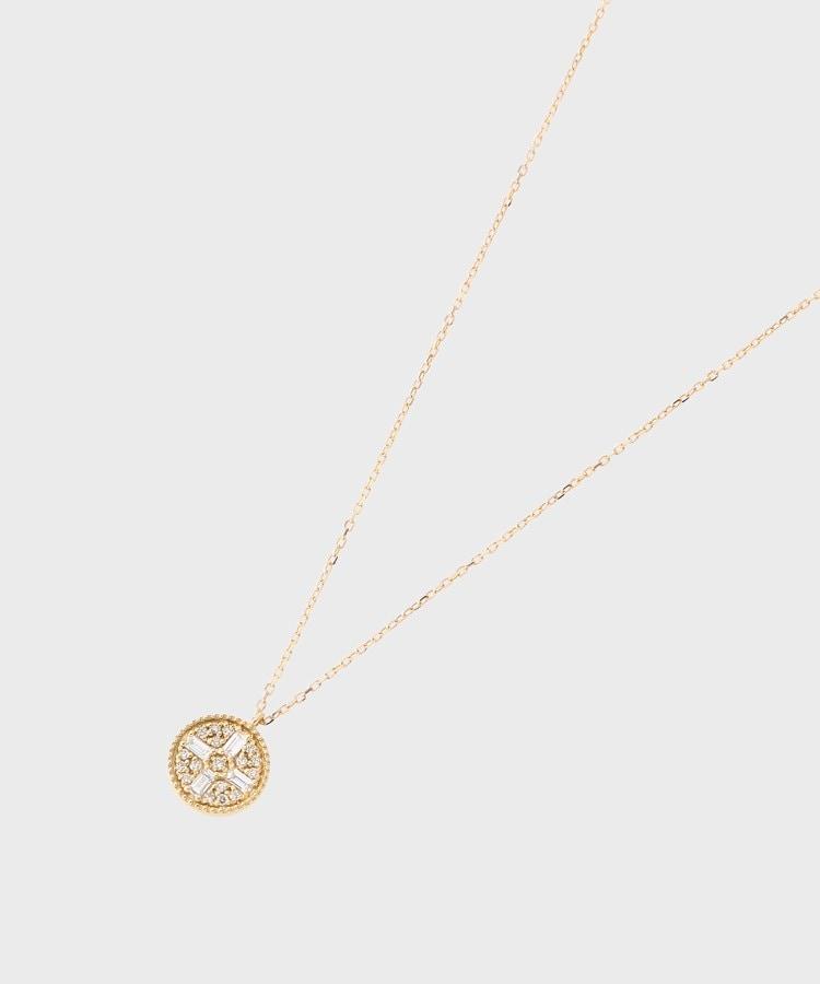 COCOSHNIK(ココシュニック) K18ダイヤモンド バゲットカット4石パヴェ ラウンドネックレス