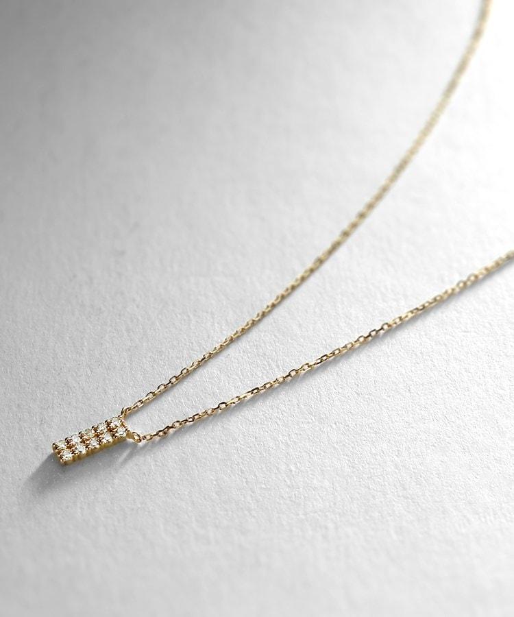 COCOSHNIK(ココシュニック) K18ダイヤモンド トゥーライン ネックレス大