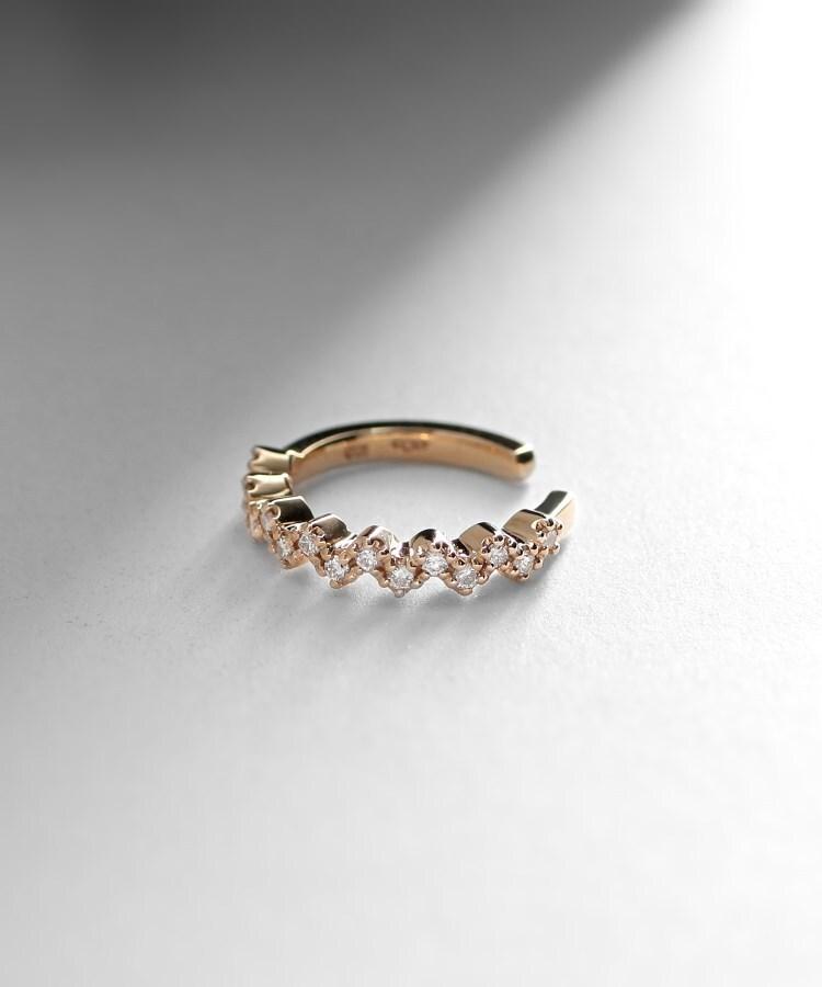 COCOSHNIK(ココシュニック) ダイヤモンド 爪留めイヤーカフ(片耳用)