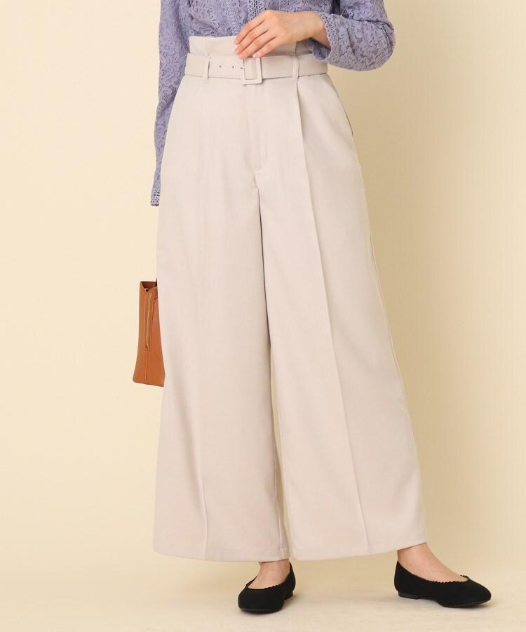 Couture Brooch(クチュールブローチ) ◆【手洗い可】サキソニーベルテッドワイドパンツ