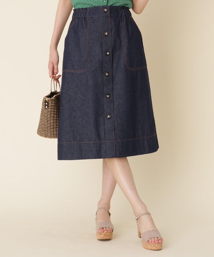 【WEB限定サイズ(S・LL)あり/洗える】フロントボタンミディスカート