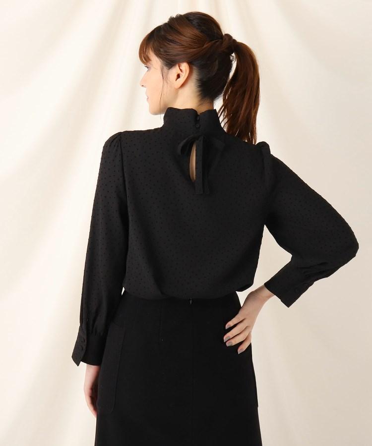 Couture Brooch(クチュールブローチ) ◆フローキードットスタンドネックブラウス