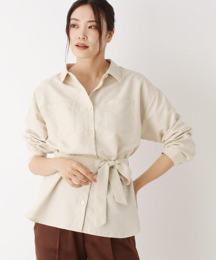 pink adobe(ピンクアドベ) 【WEB限定LLサイズあり】ピーチスキン ベルト付きシャツ