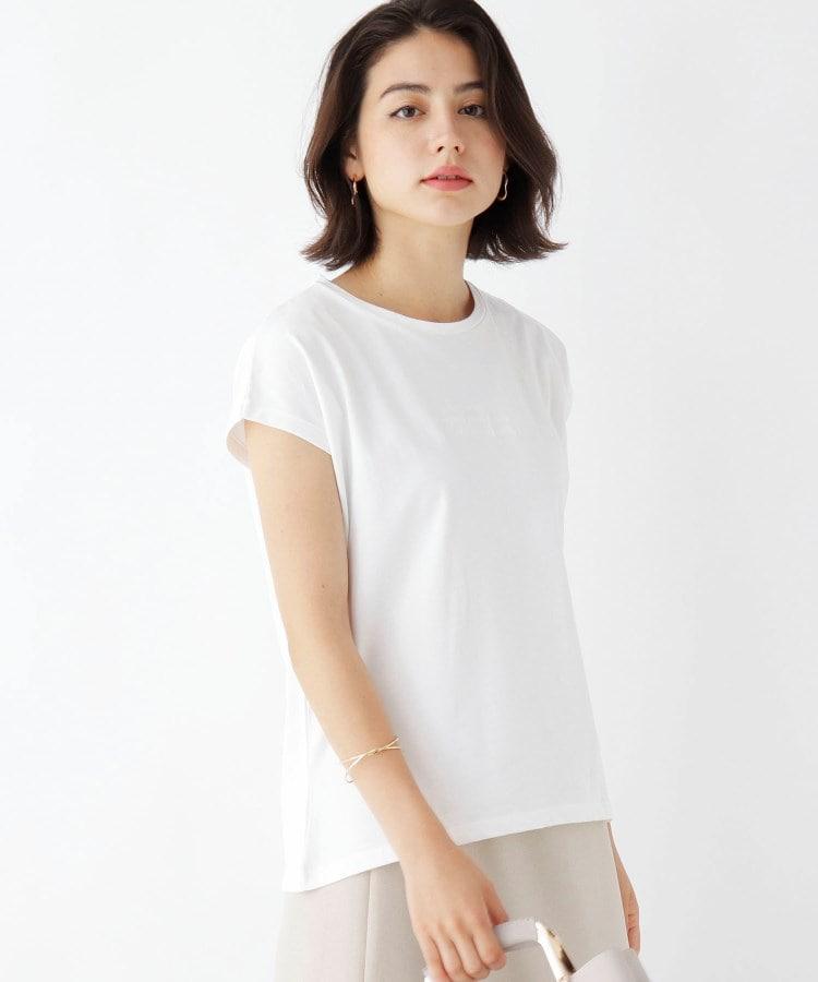 index(インデックス) 【WEB限定サイズ】同色刺しゅうフレンチスリーブロゴTシャツ