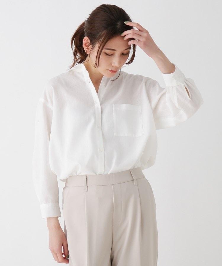 SHOO・LA・RUE(シューラルー) 【五明祐子さん着用商品/S-3L】フレンチリネン前開きシャツ