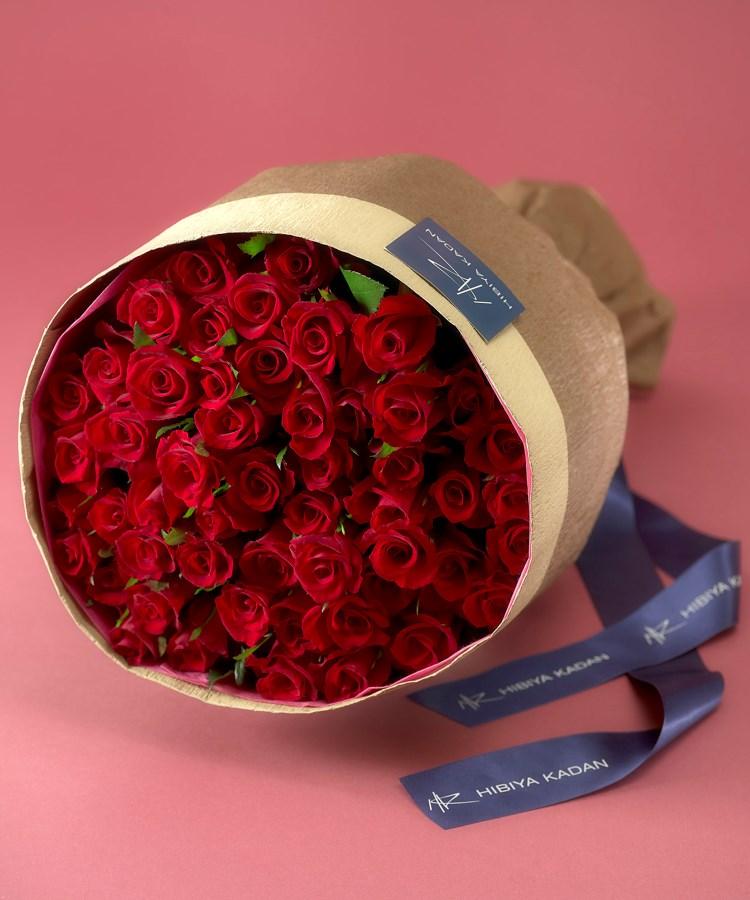 日比谷花壇(ヒビヤカダン) 50本の赤バラの花束「アニバーサリーローズ」