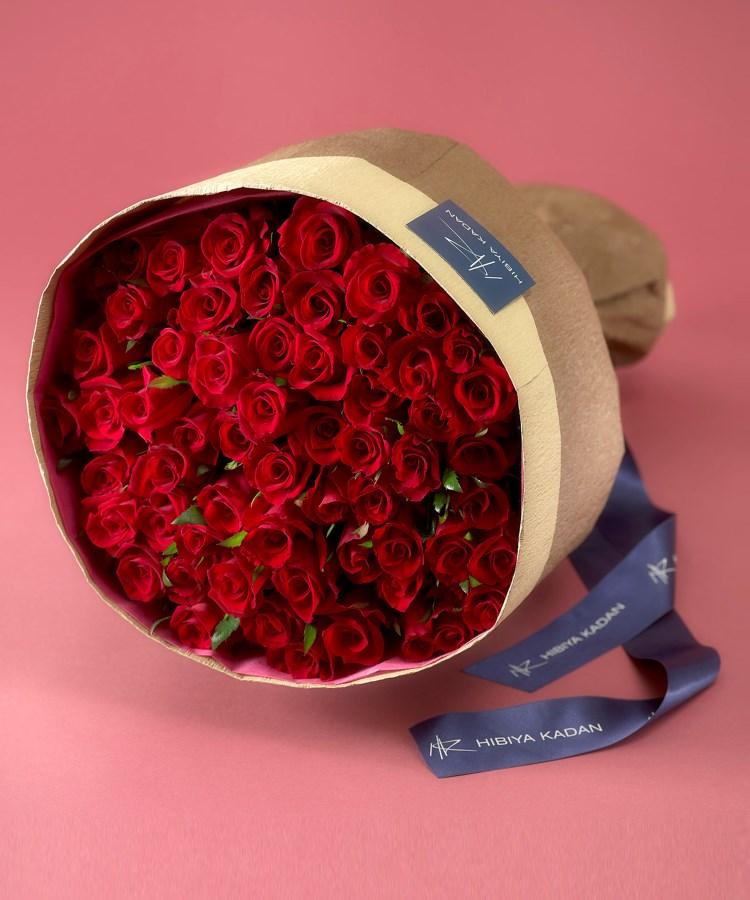 日比谷花壇(ヒビヤカダン) 60本の赤バラの花束「アニバーサリーローズ」