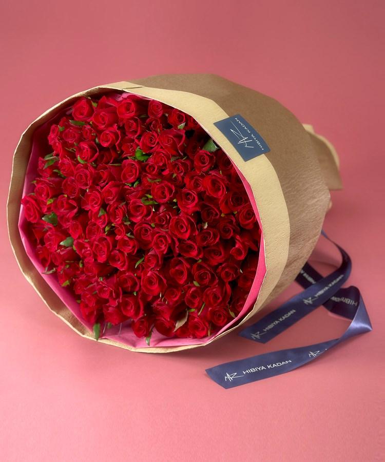 日比谷花壇(ヒビヤカダン) 100本の赤バラの花束「アニバーサリーローズ」