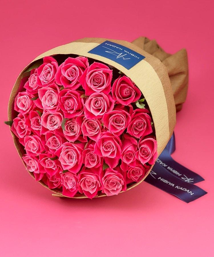 日比谷花壇(ヒビヤカダン) 30本のピンクバラの花束「アニバーサリーローズ」