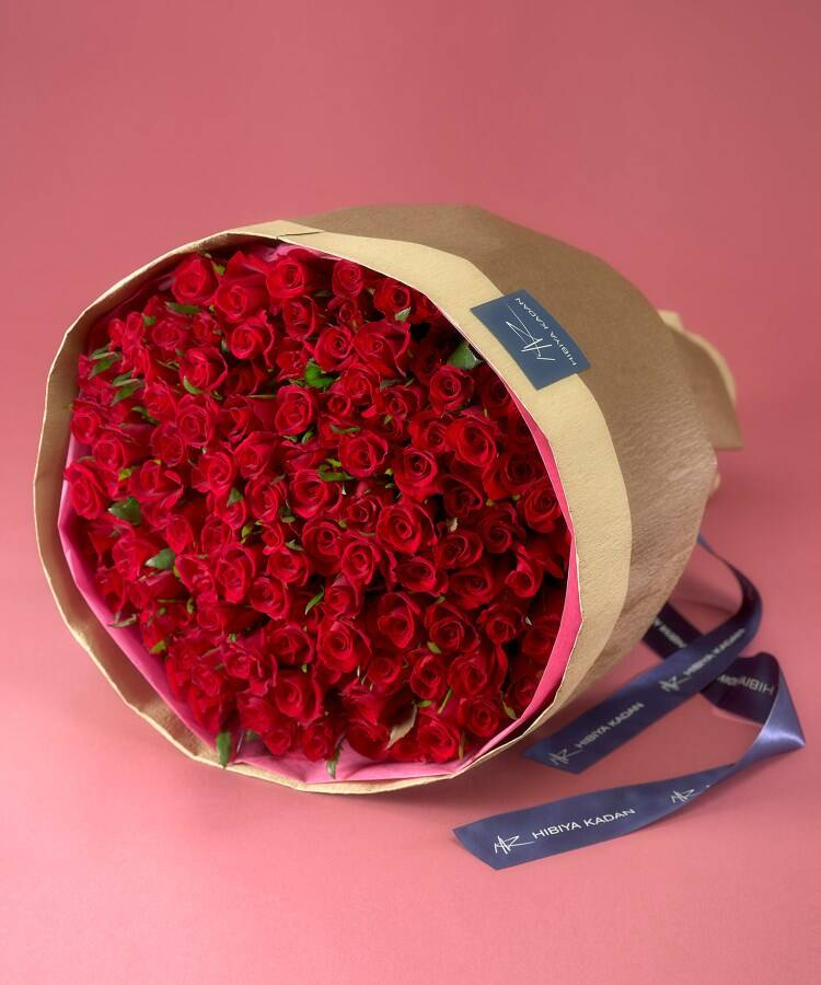 日比谷花壇(ヒビヤカダン) 108本の赤バラの花束「アニバーサリーローズ」