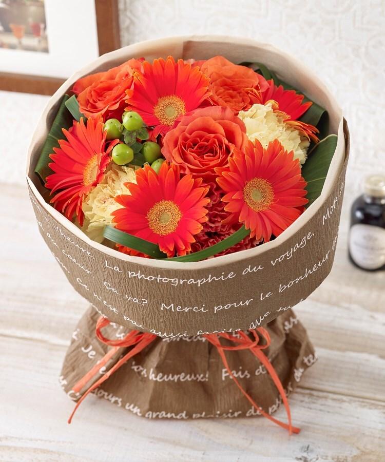 日比谷花壇(ヒビヤカダン) そのまま飾れるブーケ「グランデ・オレンジ」
